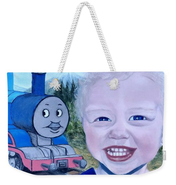 Weekender Tote Bag featuring the painting Train by Kevin Daly