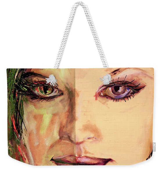 Transmutation Mixed Media Painting Of A Girl Weekender Tote Bag