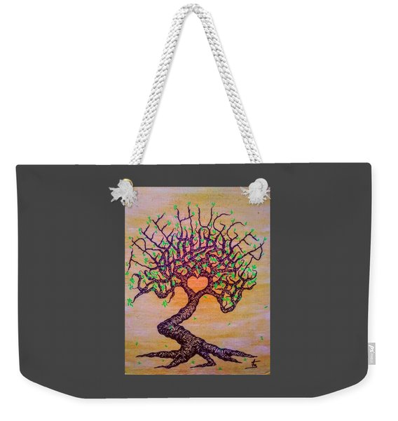 Weekender Tote Bag featuring the drawing Tree Hugger Love Tree W/ Foliage by Aaron Bombalicki