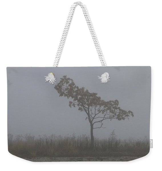 Weekender Tote Bag featuring the photograph Tree In Fog by William Selander