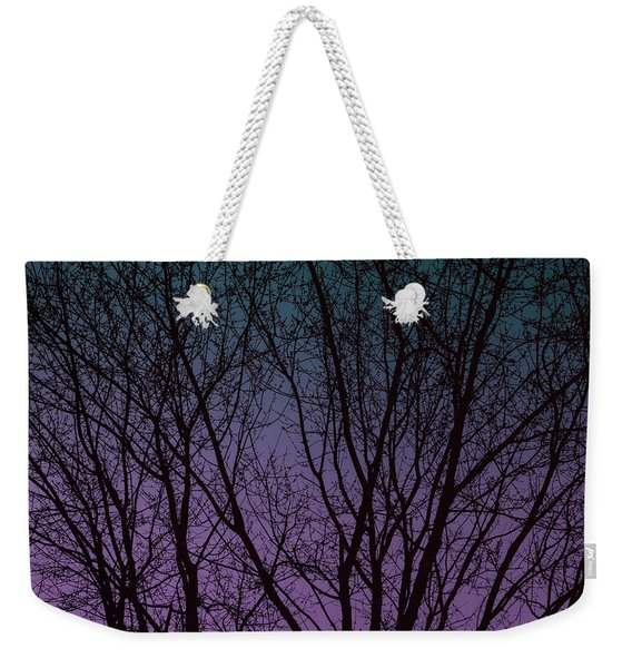 Tree Silhouette Against Blue And Purple Weekender Tote Bag