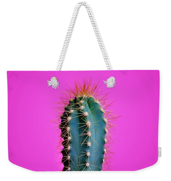 Trendy Neon Cactus Closeup Over Bright Pink Pastel Background. C Weekender Tote Bag
