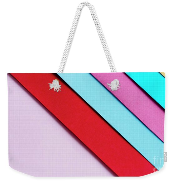 Trendy Pastel Colors In Geometry Shape Flat Lay. Colorful Rainbo Weekender Tote Bag