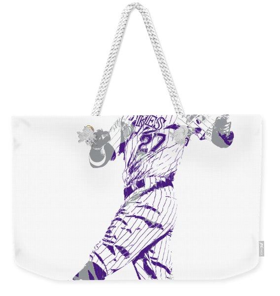 Trevor Story Colorado Rockies Pixel Art 9 Weekender Tote Bag
