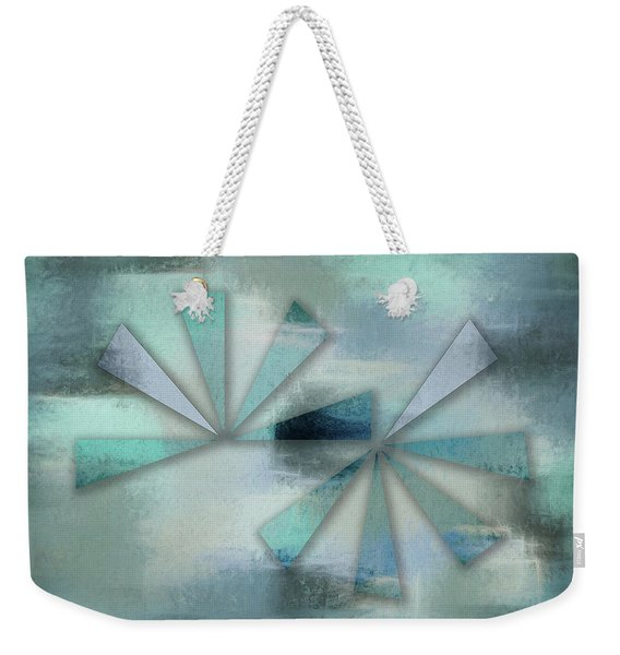 Triangles On Blue Grey Backdrop Weekender Tote Bag