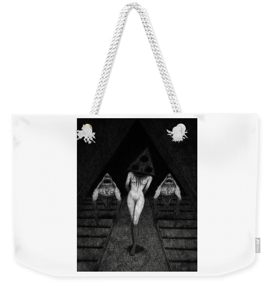 Weekender Tote Bag featuring the drawing Trigia And The Dethiligox - Artwork by Ryan Nieves