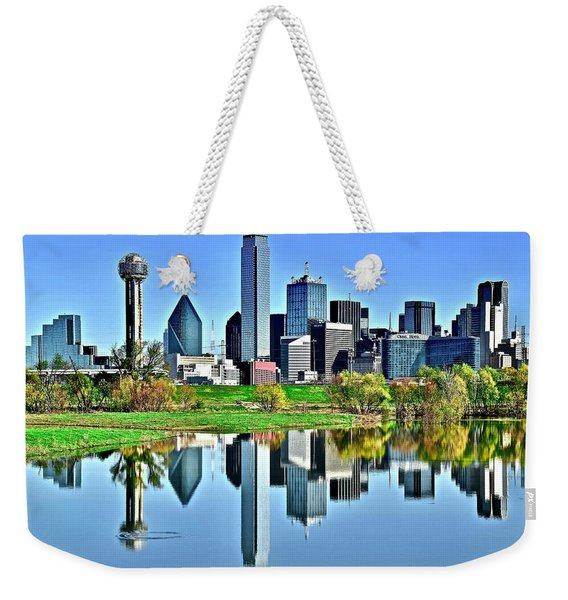 Trinity Park Water Reflects The Big D Weekender Tote Bag