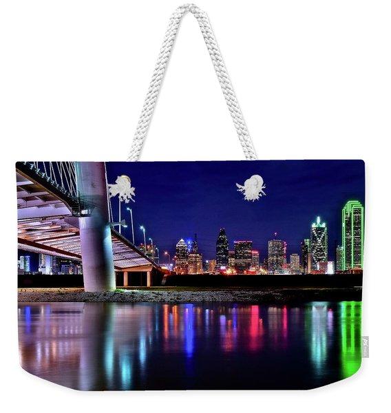 Trinity River Night View Of Dallas Weekender Tote Bag