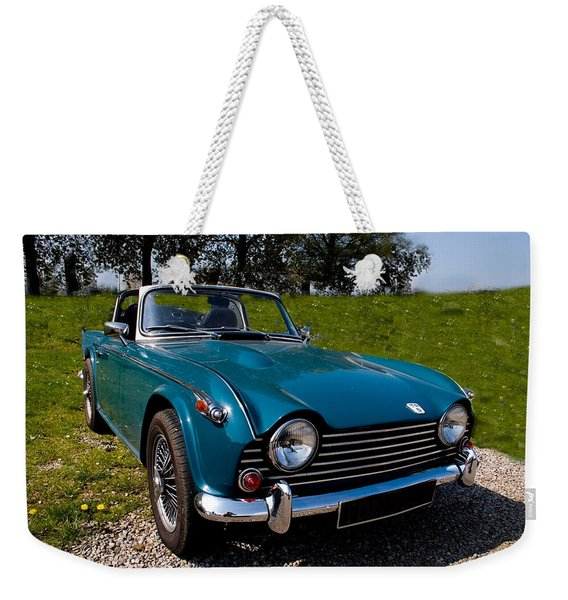 Triumph Tr5 Blue Weekender Tote Bag