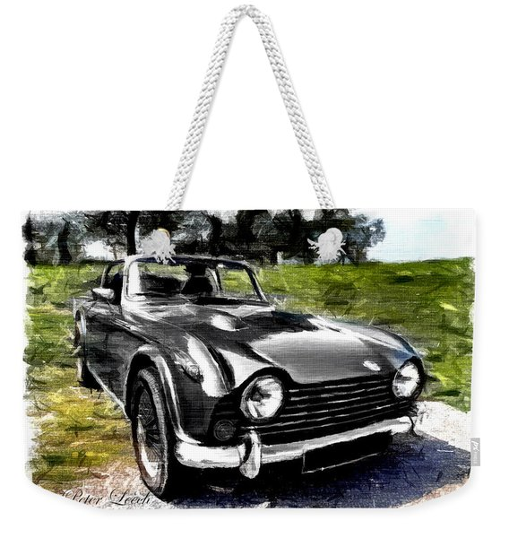 Triumph Tr5 Monochrome With Brushstrokes Weekender Tote Bag