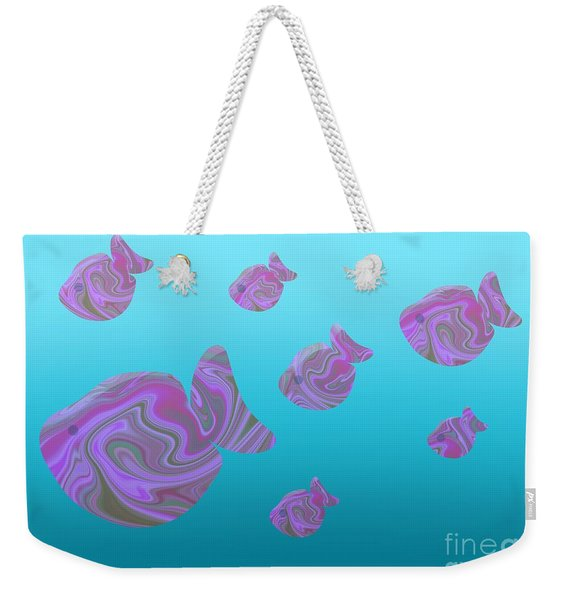 Tropical Fish In Pink Psychedelic Pattern Weekender Tote Bag