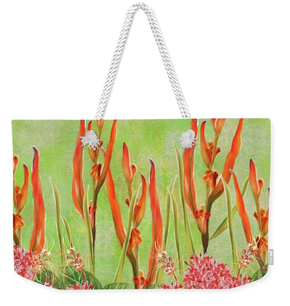 Tropical Floral Print Lime Green Batik Weekender Tote Bag