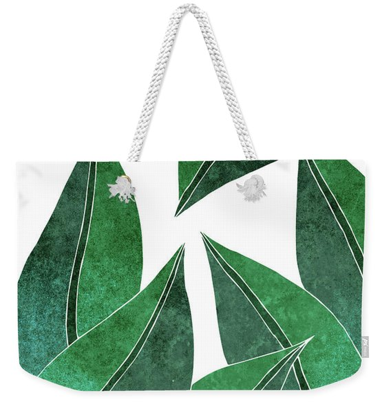 Tropical Leaf Illustration - Green - Botanical Art - Floral Design - Modern, Minimal Decor Weekender Tote Bag