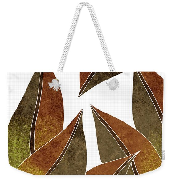 Tropical Leaf Illustration - Yellow, Brown - Botanical Art - Floral Design - Modern, Minimal Decor Weekender Tote Bag