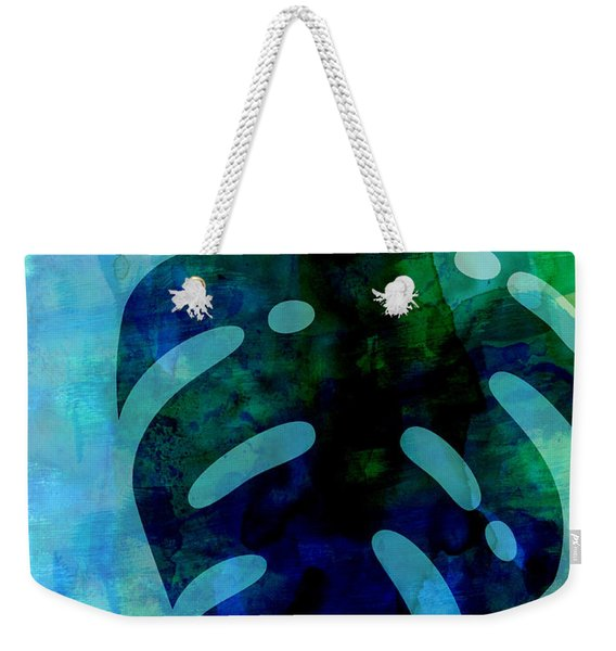 Tropical Monstera Leaf Watercolor Weekender Tote Bag