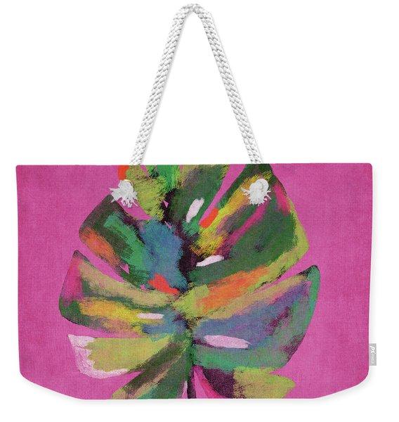 Tropical Palm Leaf Pink- Art By Linda Woods Weekender Tote Bag