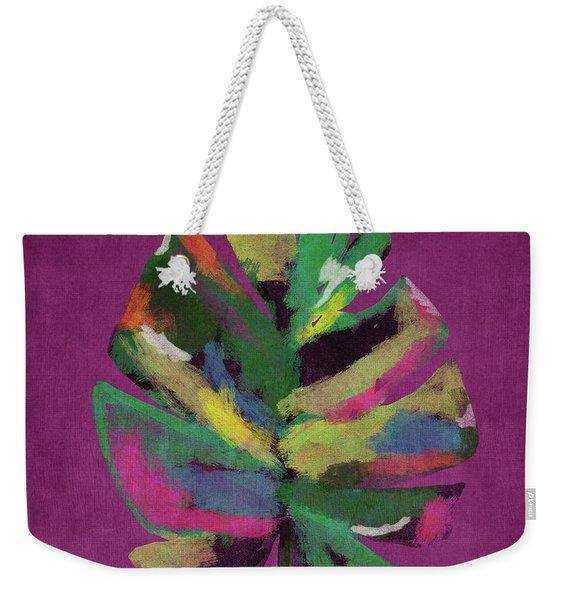 Tropical Palm Leaf Purple- Art By Linda Woods Weekender Tote Bag