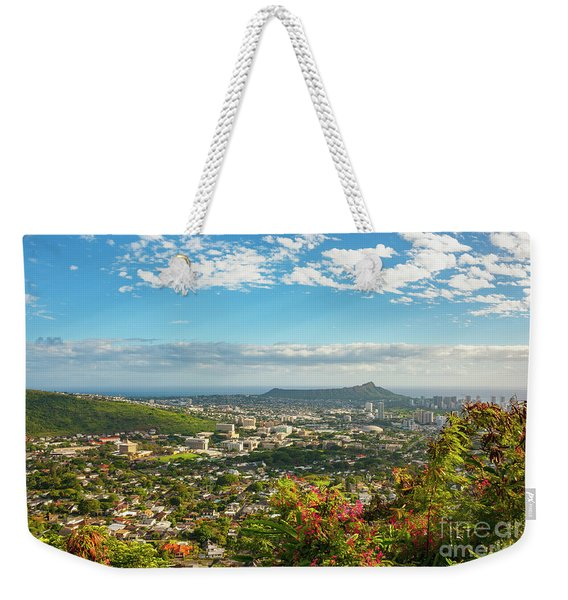 Weekender Tote Bag featuring the photograph Tropical View Of Honolulu And Diamond Head by Charmian Vistaunet