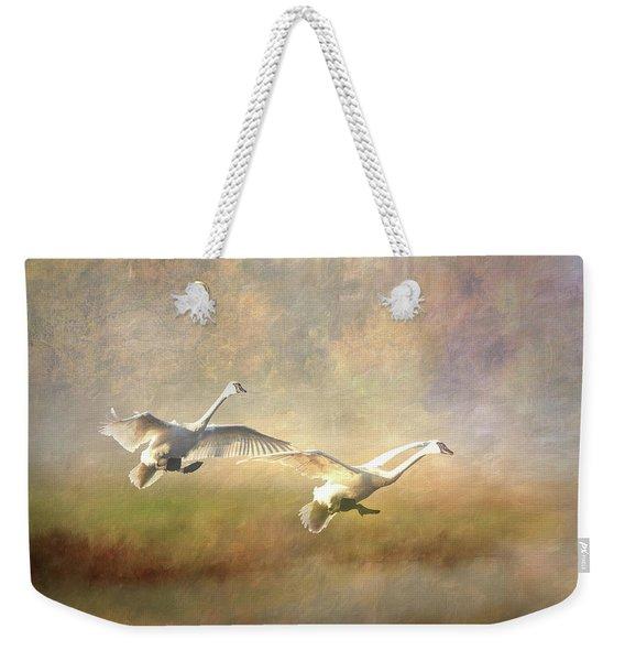 Trumpeter Swan Landing - Painterly Weekender Tote Bag