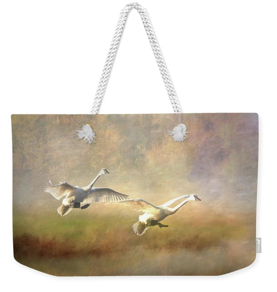 Trumpeter Swan Landing - Painterly Weekender Tote Bag