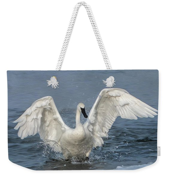 Trumpeter Swan Splash Weekender Tote Bag