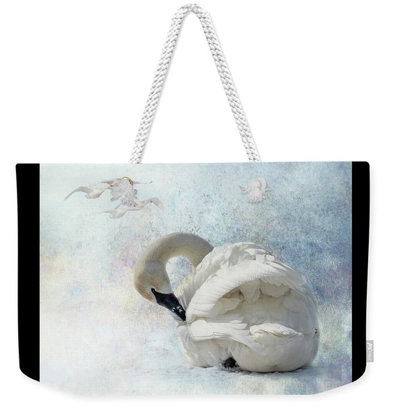 Weekender Tote Bag featuring the photograph Trumpeter Textures #2 - Swan Preening by Patti Deters