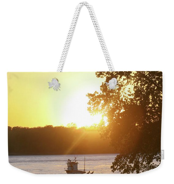 Tugboat On Mississippi River Weekender Tote Bag