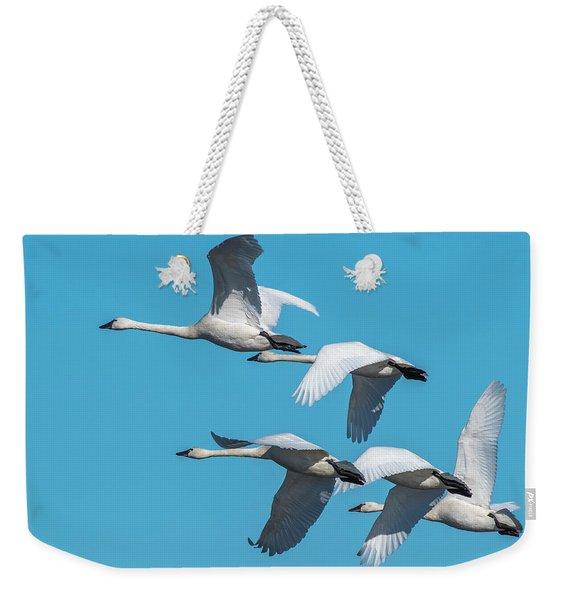 Tundra Swans In Flight Weekender Tote Bag