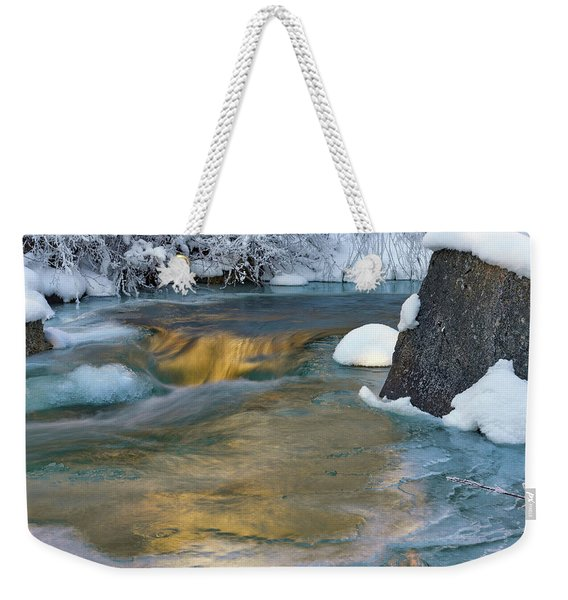Turquoise And Gold Cascade Weekender Tote Bag