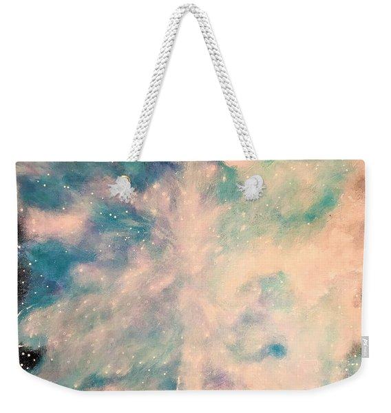 Turquoise Cosmic Cloud Weekender Tote Bag