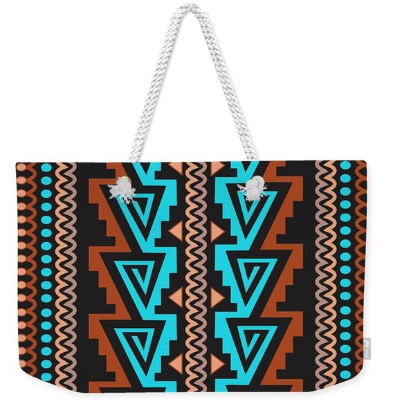 Turquoise Triangle Pattern Weekender Tote Bag