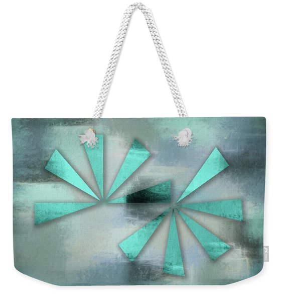 Turquoise Triangles On Blue Grey Backdrop Weekender Tote Bag