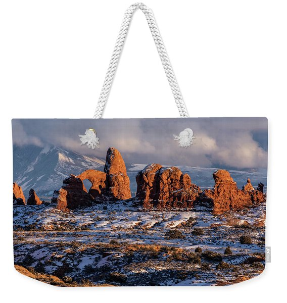 Turret Arch Winter Sunset Weekender Tote Bag