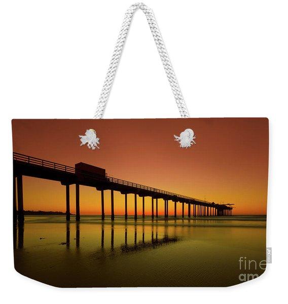 Twilight On The Beach Scripps Pier La Jolla San Diego Ca Weekender Tote Bag