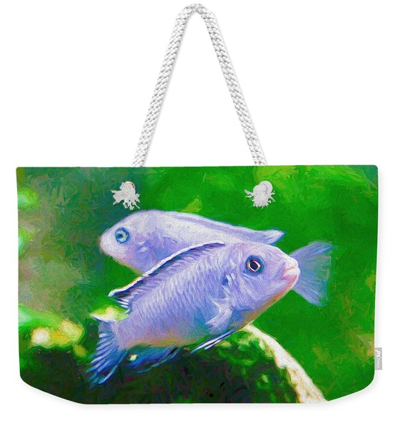 Weekender Tote Bag featuring the digital art Twin Blue Zebra Cichlids Pen by Don Northup