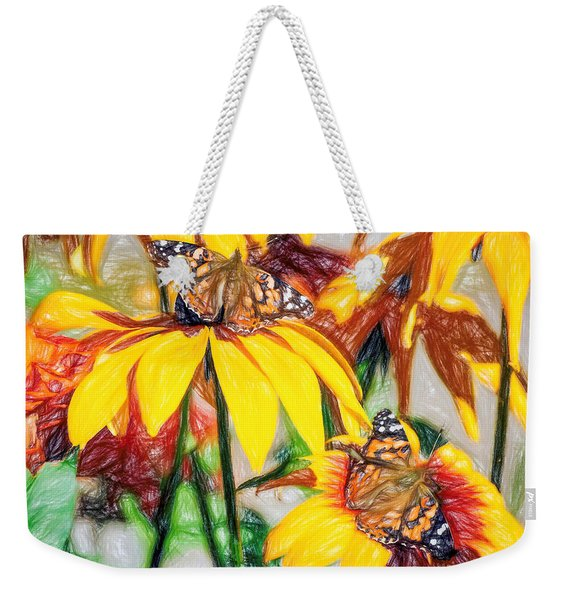 Weekender Tote Bag featuring the photograph Twin Painted Lady Butterflies Pencil by Don Northup