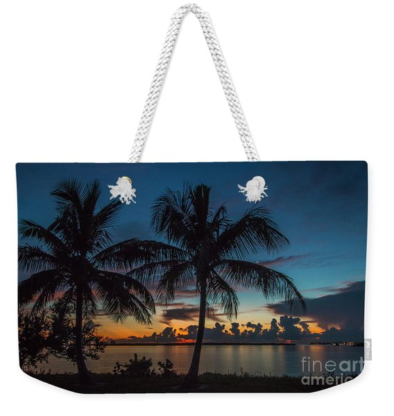 Weekender Tote Bag featuring the photograph Twin Palms Sunrise by Tom Claud
