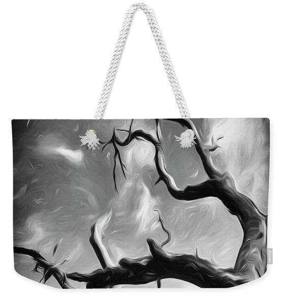 Twisty Tree Black And White  Weekender Tote Bag