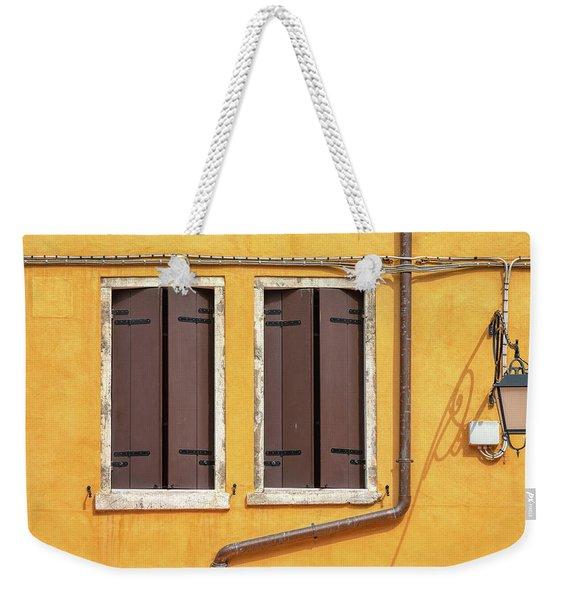 Two Brown Windows Of Venice Weekender Tote Bag