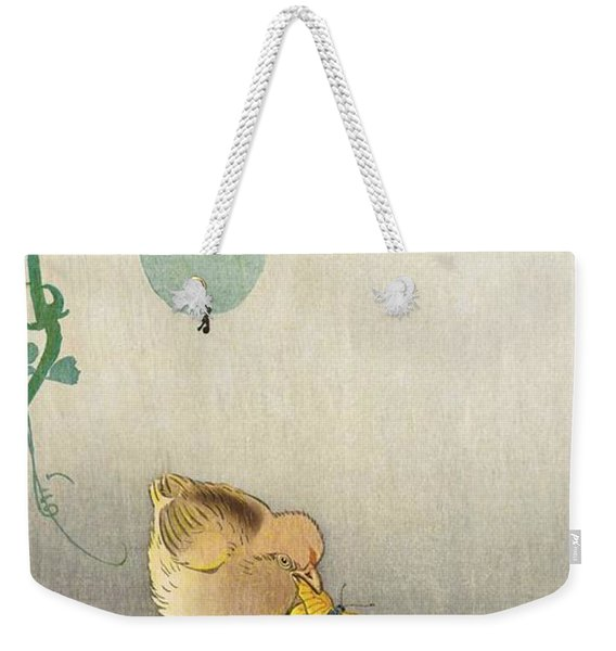 Two Chicks Competing For Butterflies - Digital Remastered Edition Weekender Tote Bag