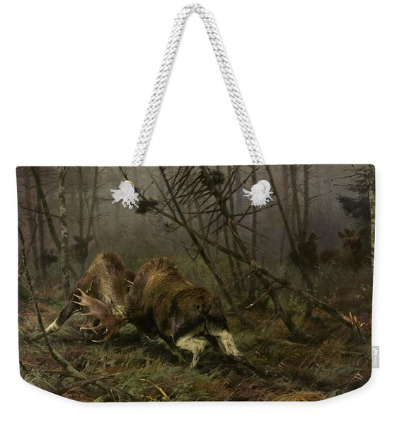 Two Fighting Moose Bulls Weekender Tote Bag