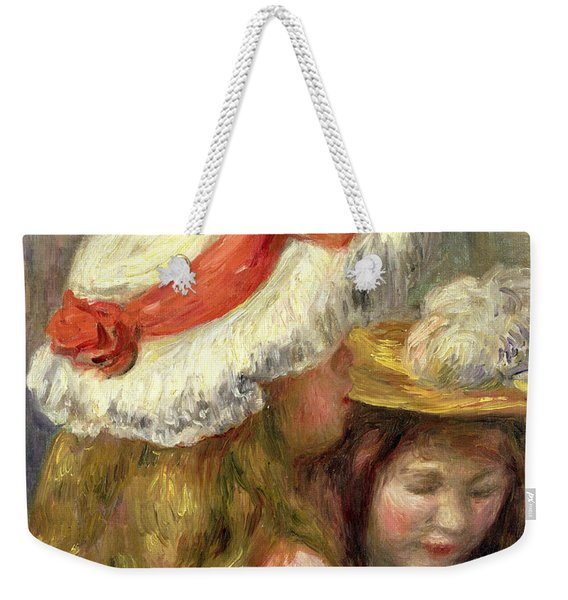 Two Girls With Hats, Circa 1890  Weekender Tote Bag