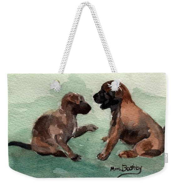 Two Malinois Puppies Weekender Tote Bag