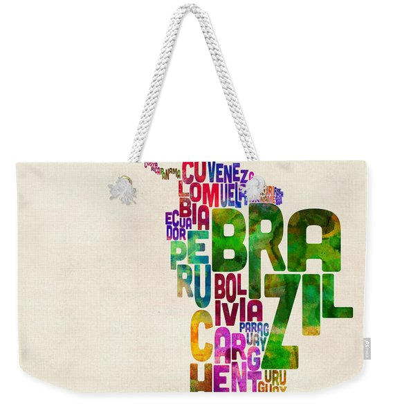 Typography Map Of Latin America, Mexico, Central And South America Weekender Tote Bag