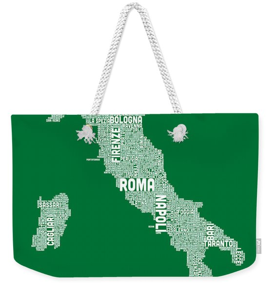 Typography Text Map Of Italy Map Weekender Tote Bag