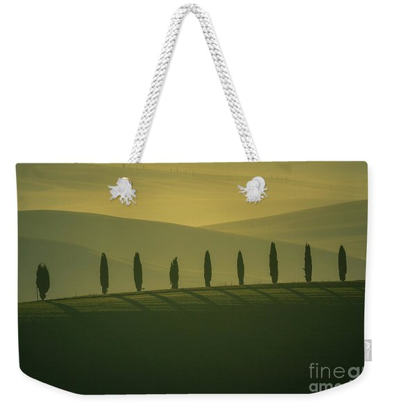 Tuscan Cypress Trees In Hilly Landscape Weekender Tote Bag