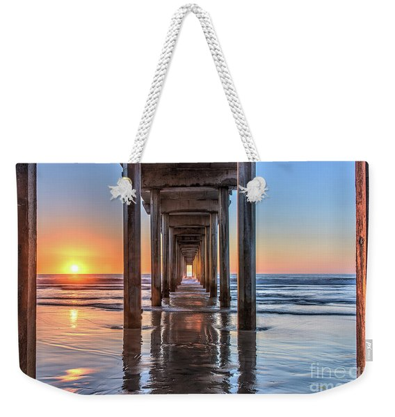 Under Scripps Pier At Sunset  ..autographed.. Weekender Tote Bag