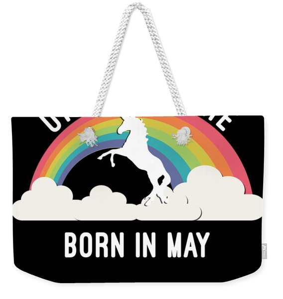 Weekender Tote Bag featuring the digital art Unicorns Are Born In May by Flippin Sweet Gear