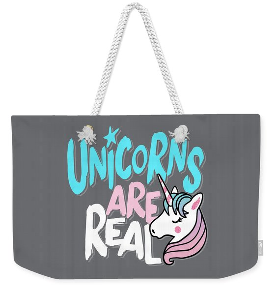 Unicorns Are Real - Baby Room Nursery Art Poster Print Weekender Tote Bag