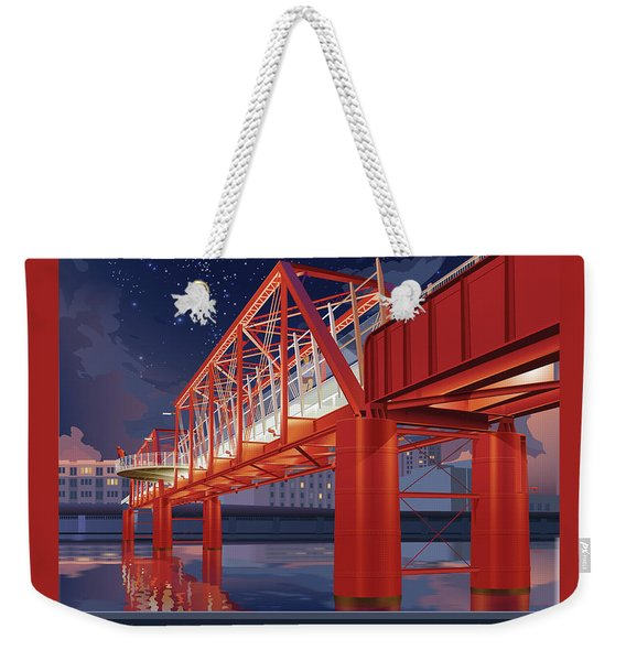 Weekender Tote Bag featuring the digital art Union Railroad Bridge - Riverwalk by Clint Hansen